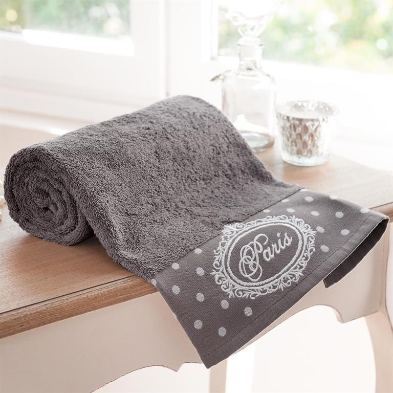 Drap de bain en coton gris 70x140 PARIS