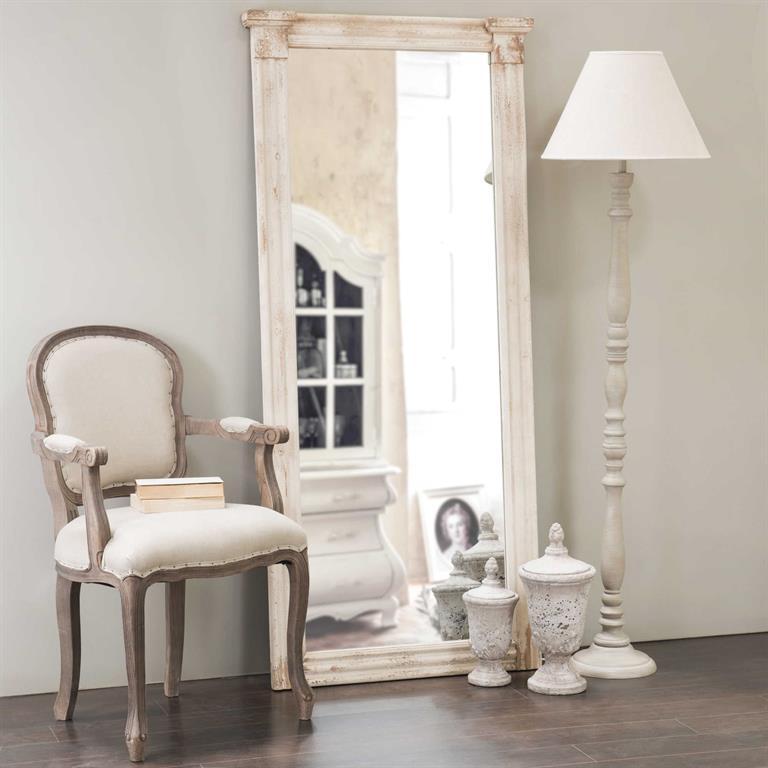 Miroir en bois blanc H 176 cm EMPEREUR