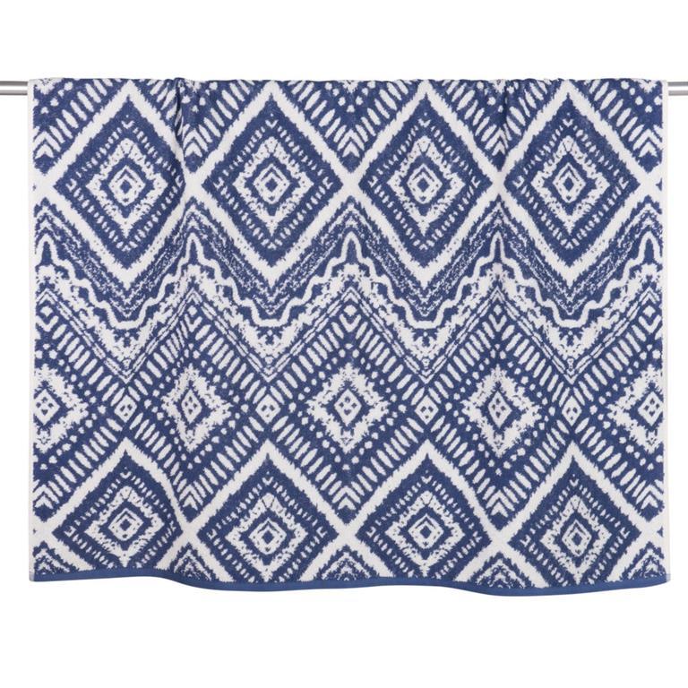 Drap de bain en coton bleu motifs graphiques 100x150