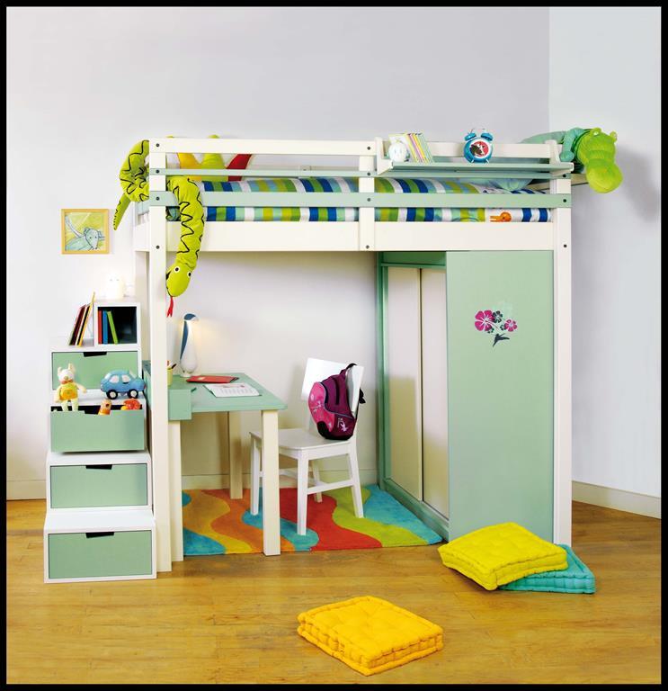 Lit mezzanine enfant avec bureau et rangements intégrés