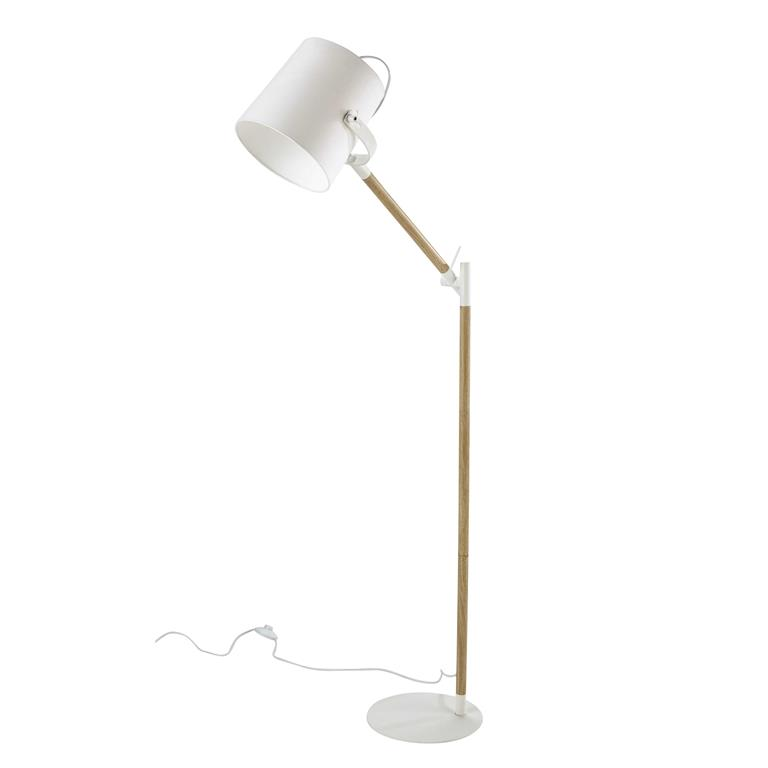 Lampadaire en métal et coton blanc H 154 cm GROENLAND