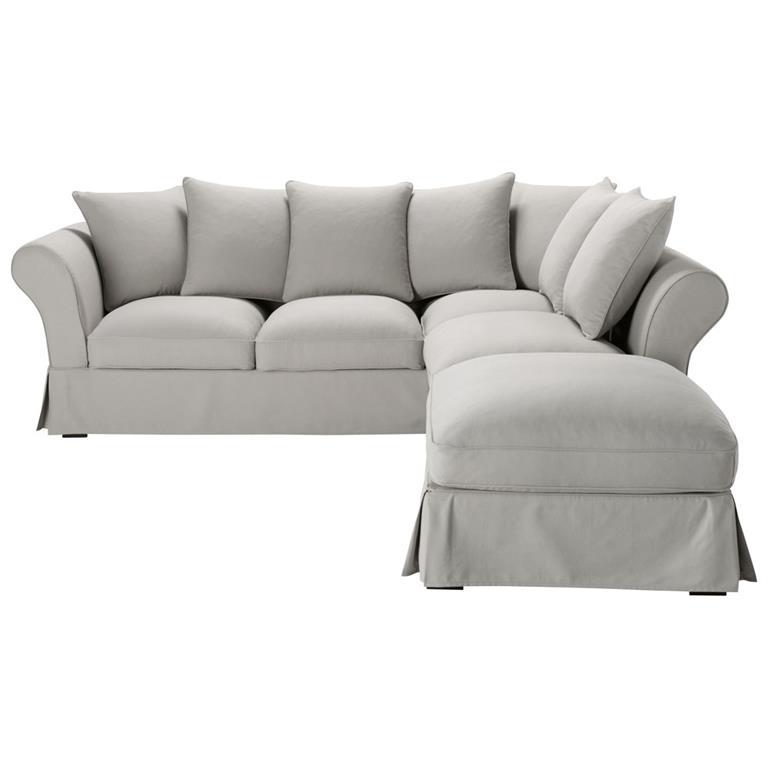 Canapé d'angle convertible 6 places en coton gris clair Roma