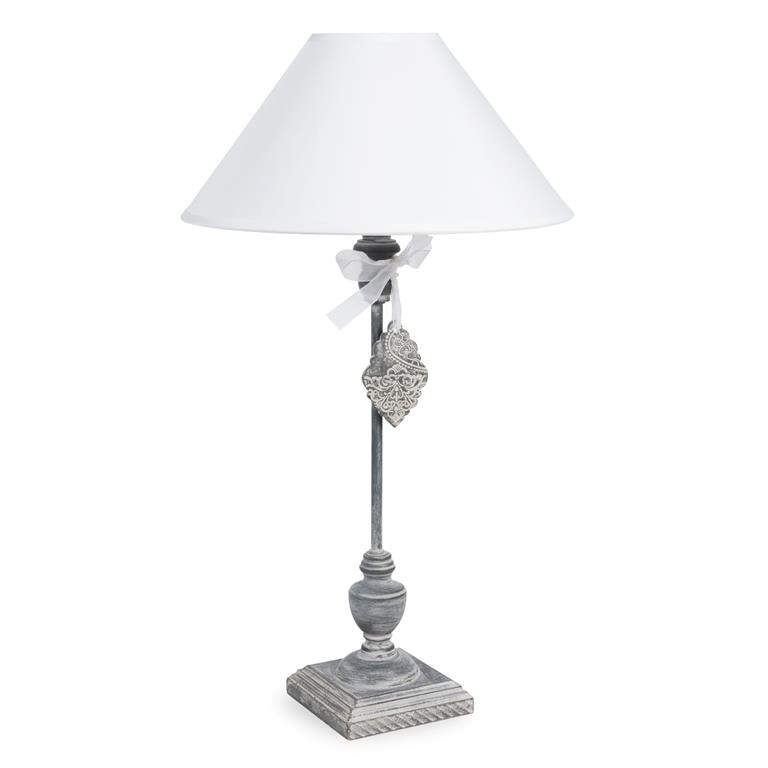 Lampe en bois et abat-jour en tissu blanc H 53 cm MEDAILLON