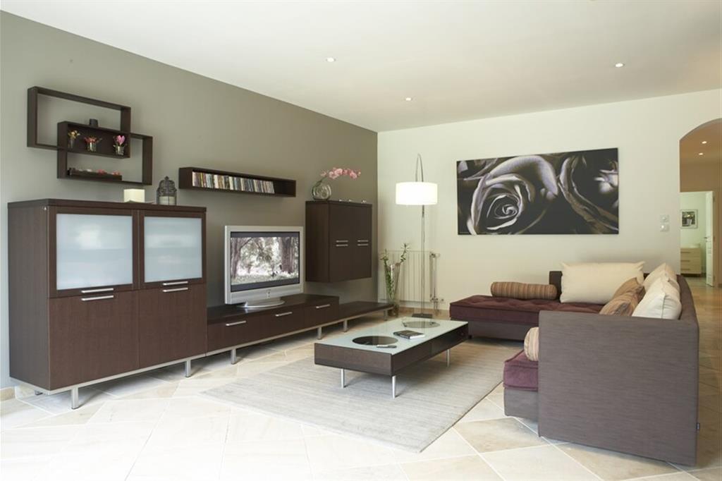 Grand salon moderne dans les tons gris et marron foncé