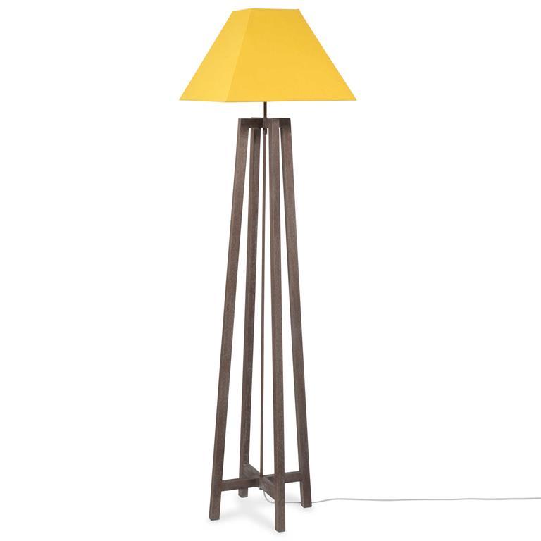Lampadaire en bois et tissu jaune H 155 cm URBAN SQUARE