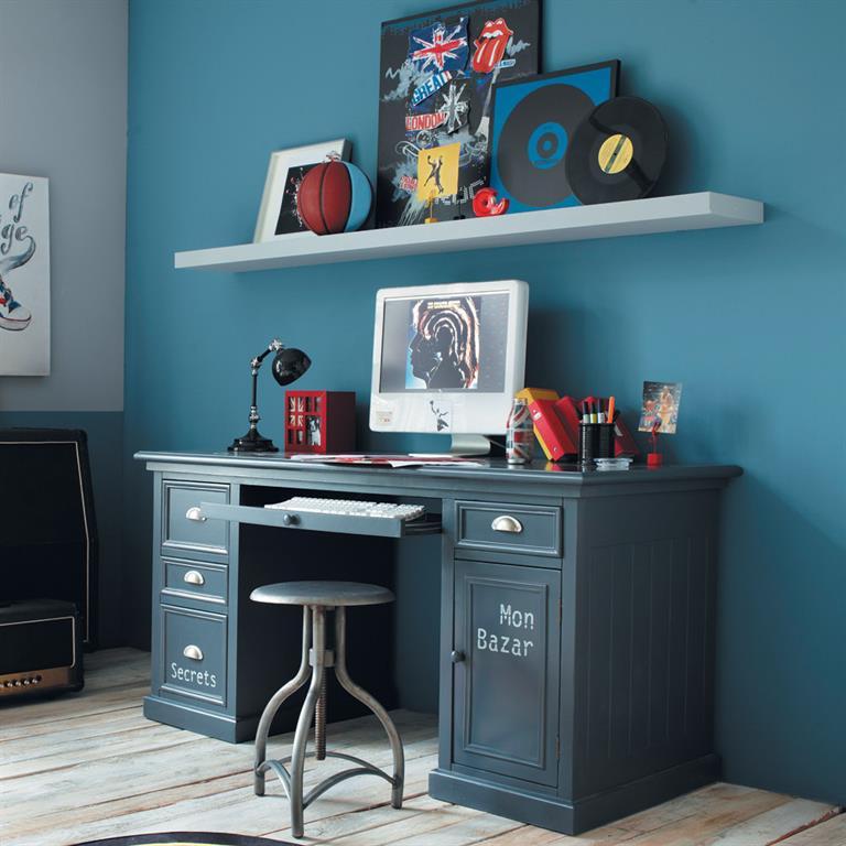 Bureau gris bleu 1 porte 4 tiroirs Newport Maisons du monde