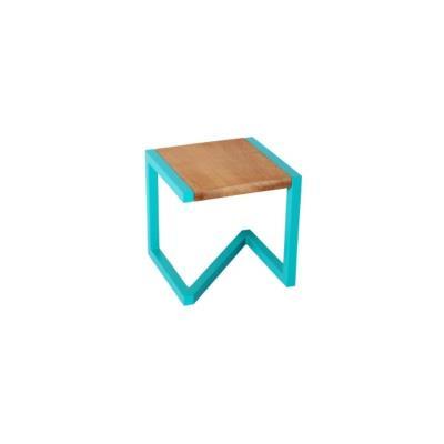 Tabouret design en bois et acier laqué bleu