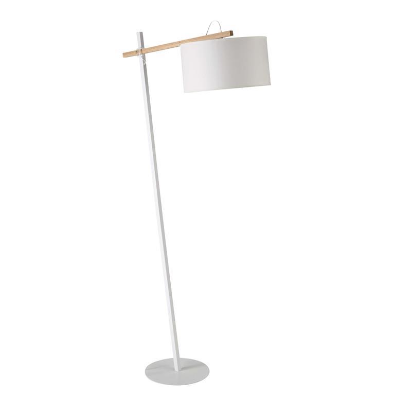Lampadaire en métal et coton blanc H 170 cm KLARA