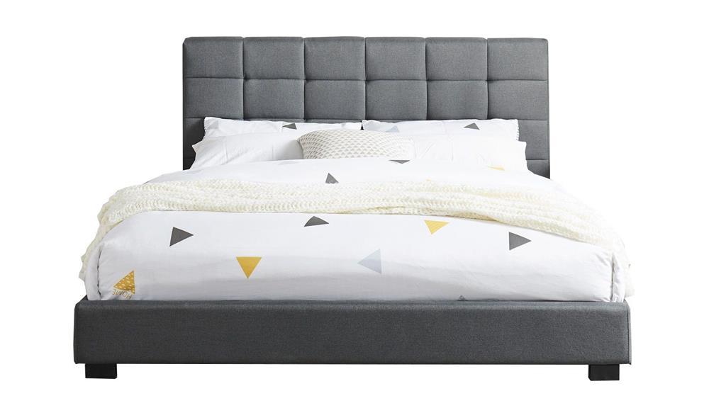 Lit gris foncé avec tête de lit et sommier 140x190