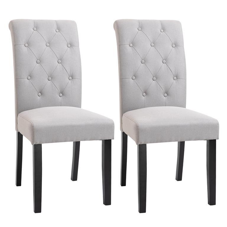 Lot de 2 chaises style Chesterfield lin gris clair
