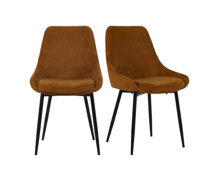 Lot de 2 chaises design velours côtelé ZAIPO