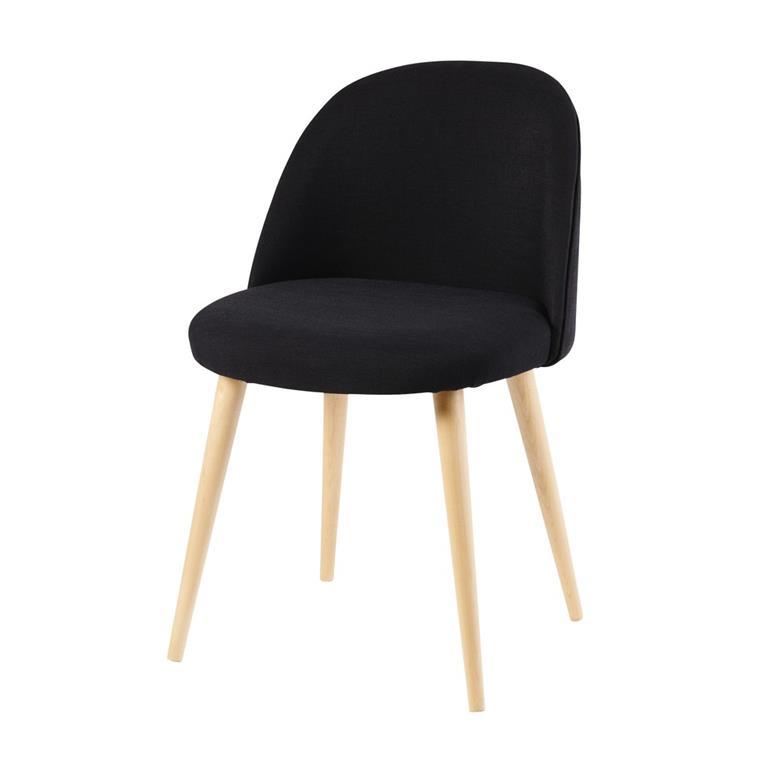 Chaise vintage noire et bouleau massif Mauricette Maisons du