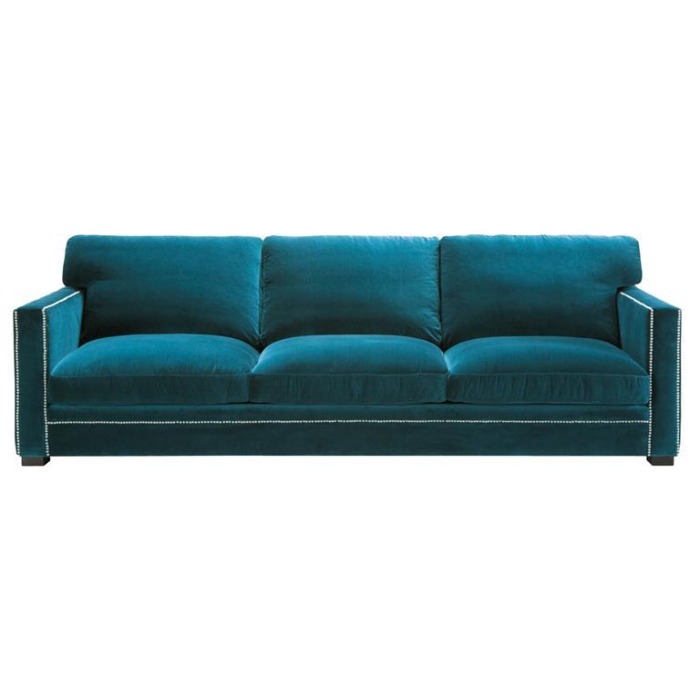 Canapé 4/5 places en velours bleu Dandy