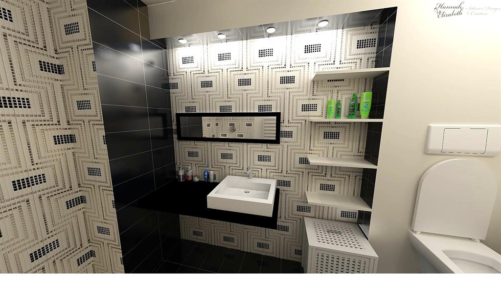 Image Salle de bain noir blanc argent Hannah Elizabeth Interior Design