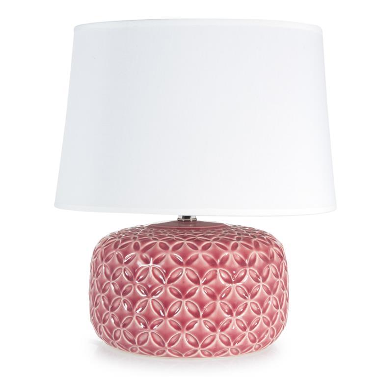 Lampe en céramique rose fuchsia H 34 cm