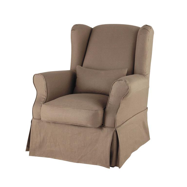 Housse de fauteuil en lin taupe Cottage