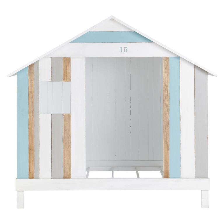 Lit cabane enfant 90x190 blanc et bleu Océan Maisons du monde