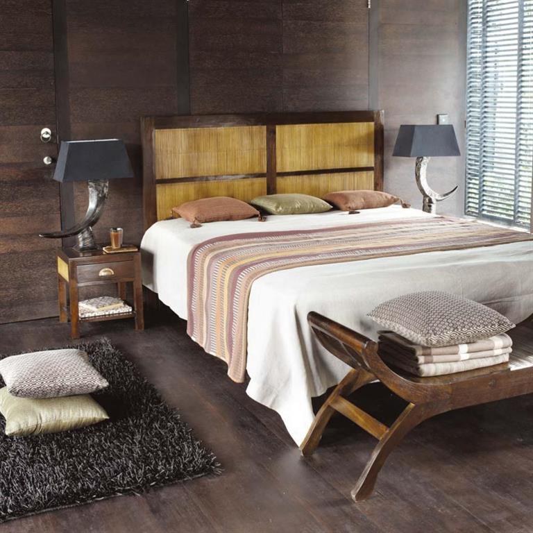 Tête de lit en teck massif et bambou teinté L 160 cm Bamboo