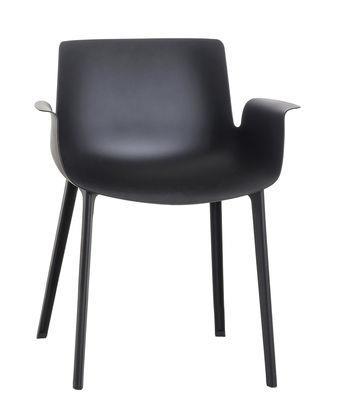 Chaise piuma plastique kartell noir en mati re plastique for Chaise plastique noir