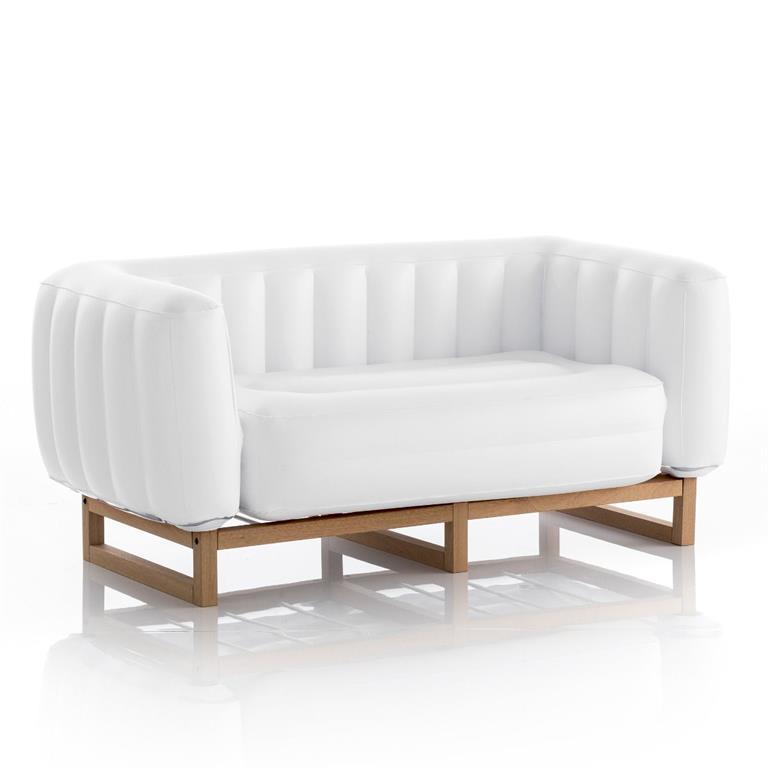 Canapé 2 places pvc blanc cadre en bois