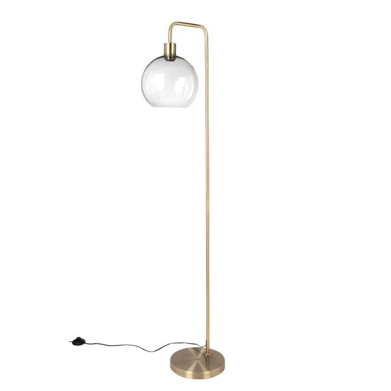 Lampadaire globe en verre et métal doré H155