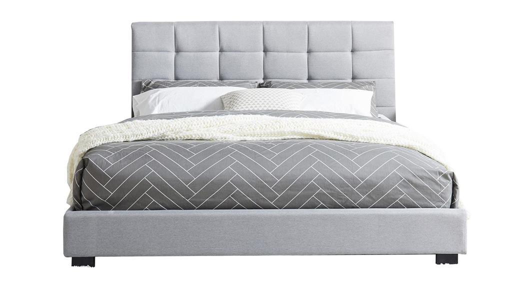 Lit gris clair avec tête de lit et sommier 140x190
