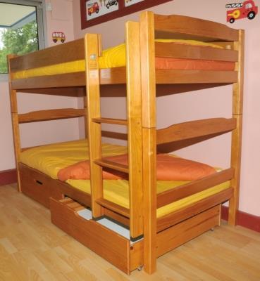 lits superpos s 2 tiroirs iris miel camif ref a10007845. Black Bedroom Furniture Sets. Home Design Ideas