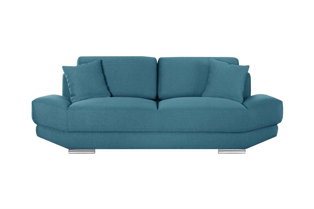 Canapé 3 places toucher lin turquoise