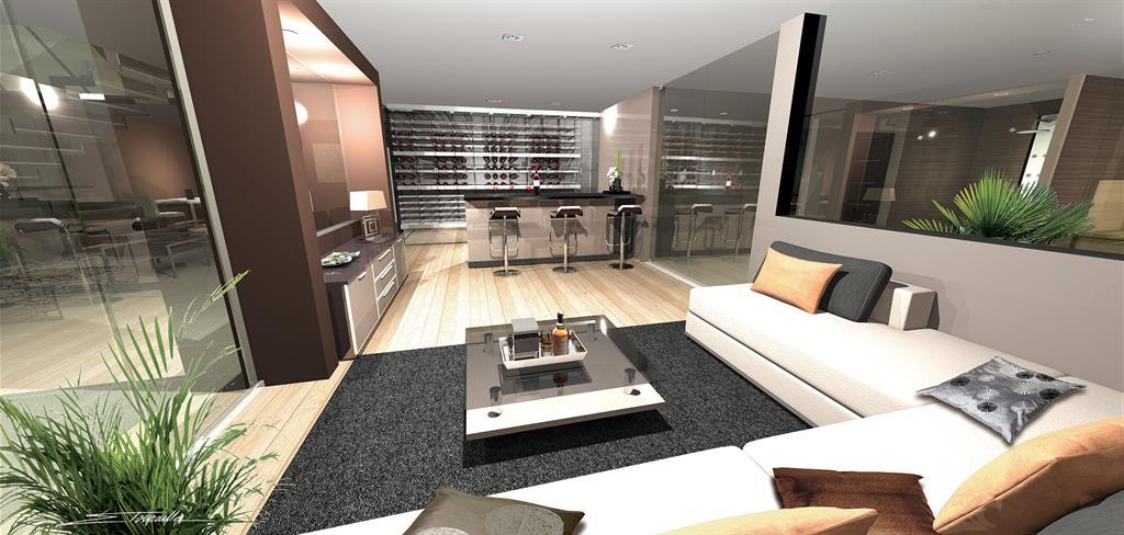 Lounge / cave en sous-sol aménagé