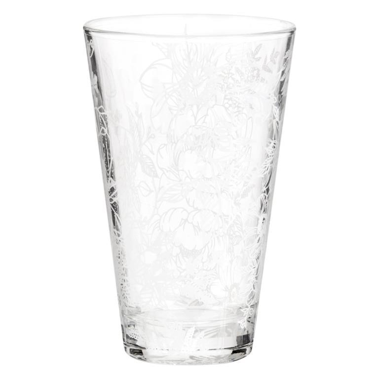 Chope en verre imprimé floral