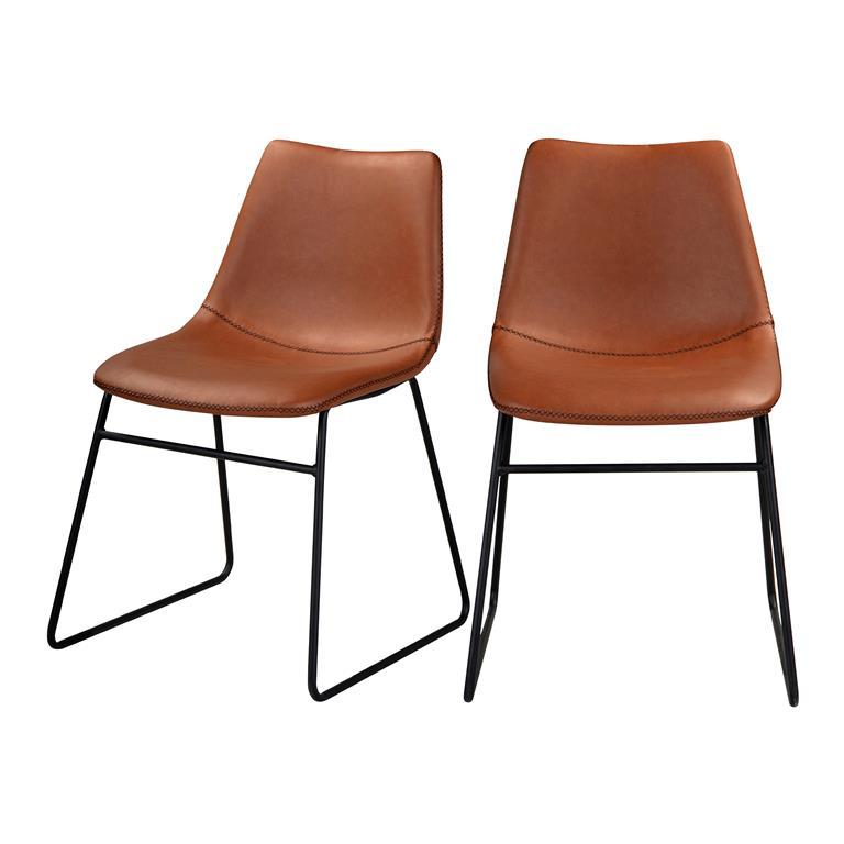 Chaise en cuir synthétique marron