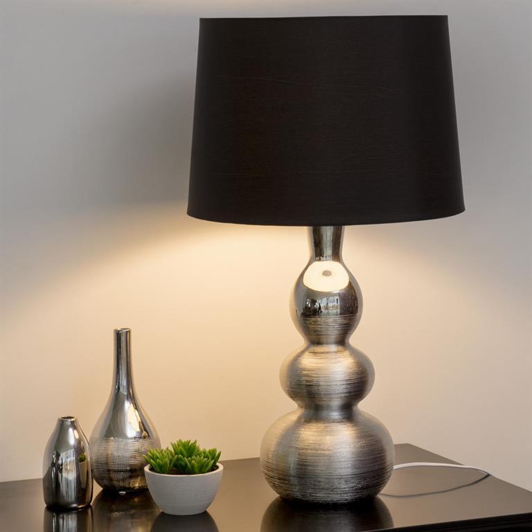 Lampe en céramique argent et abat-jour en tissu noir H 65 cm SYLVERE