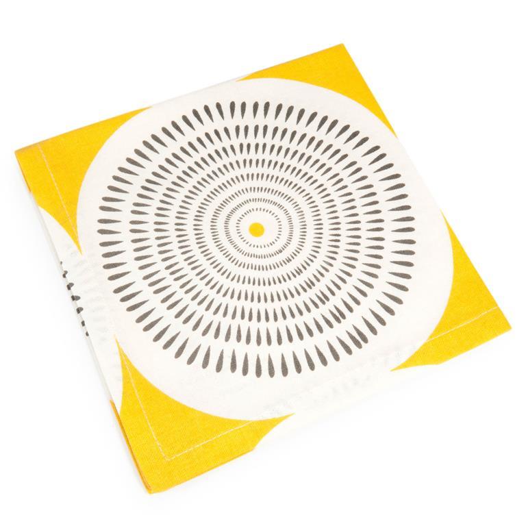 Serviette en coton jaune/gris 42 x 42 cm HELICONIA
