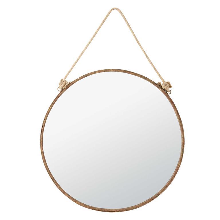 Miroir en m tal effet rouille h 70 cm cabine maisons du monde for Miroir rond 70 cm