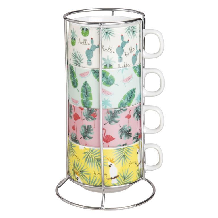 Tour 4 tasses en porcelaine imprimé feuillage