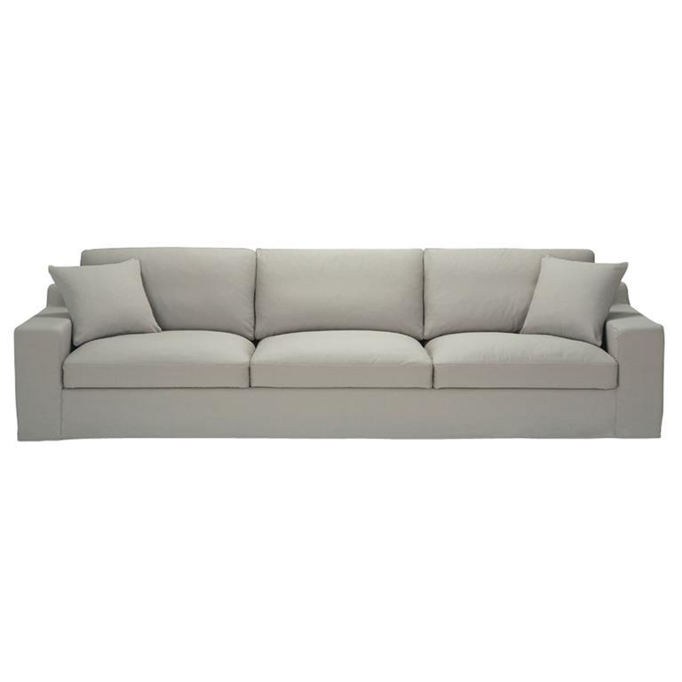 Canapé 5 places en coton gris clair Stuart