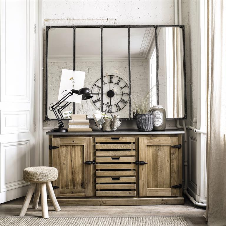 Miroir indus en m tal l 180 cm cargo verri re maisons du monde for Miroir usine