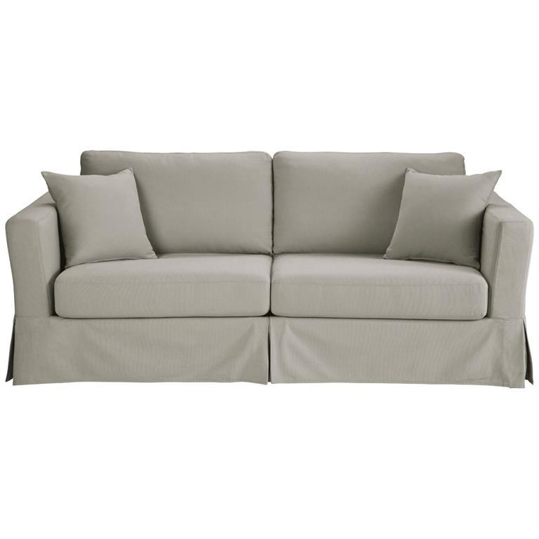 Canapé-lit 3 places en coton gris clair Royan