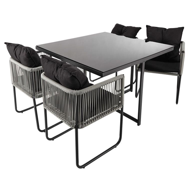 Table de jardin avec 4 chaises en résine L 107 Swann