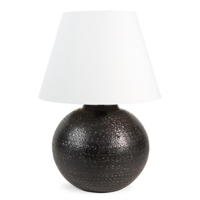 Lampe en métal et abat-jour en tissu blanc H 43 cm INDRA