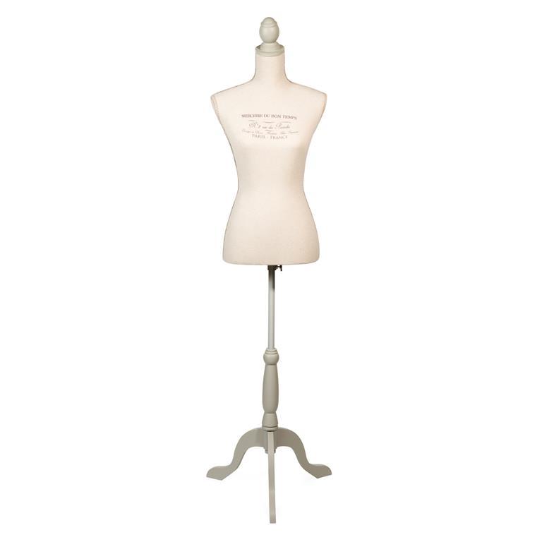 Mannequin couture en fibre de verre et tissu beige H 168 cm MERCIER