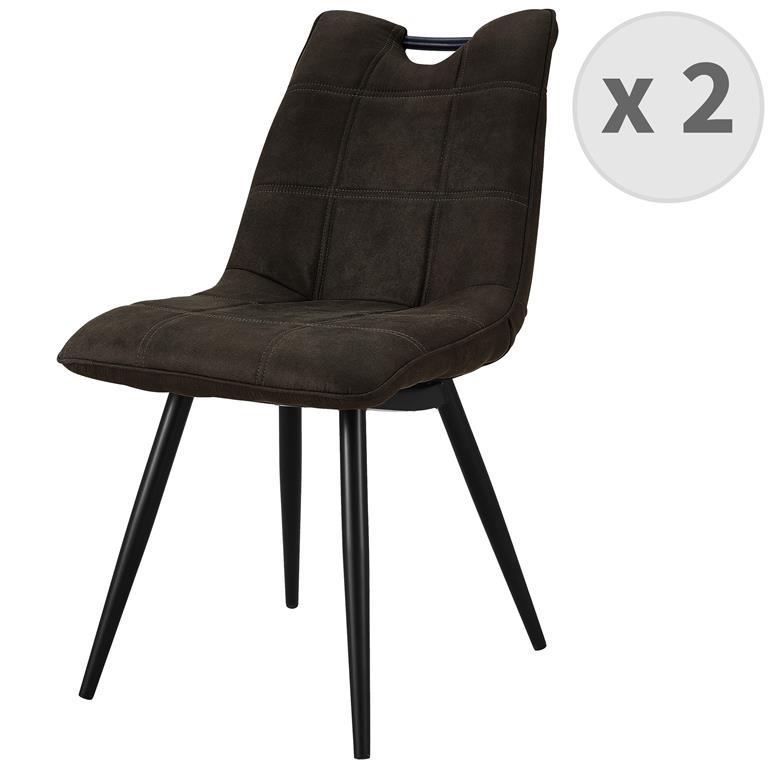 HANDY-Chaise Microfibre vintage Ebène pieds métal noir