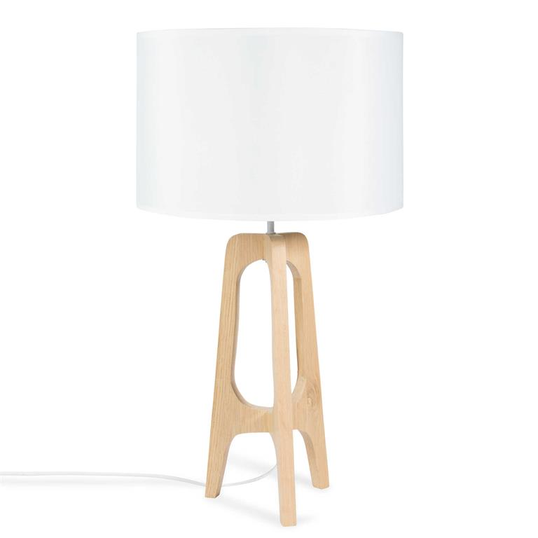 Lampe trépied en bois H 62 cm DALYA