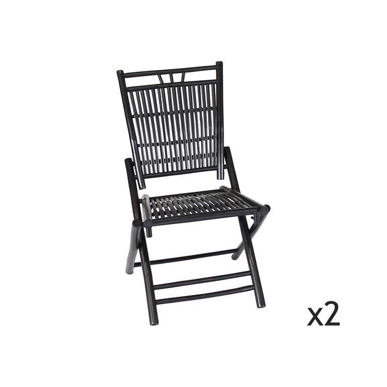 Lot de 2 chaises pliables en bambou noir