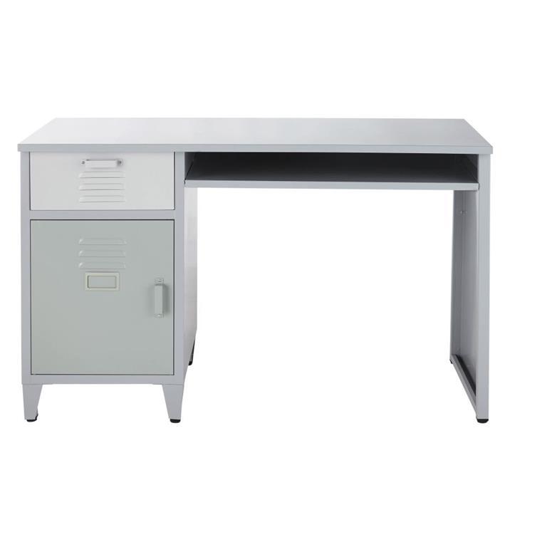 Bureau 1 tiroir 1 porte en métal gris