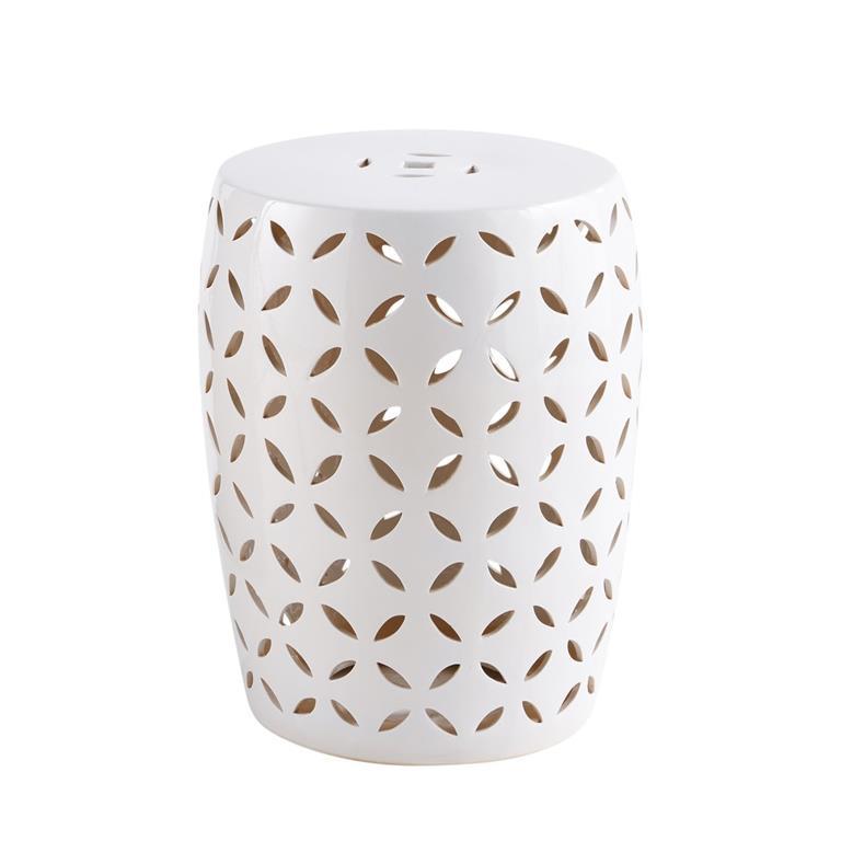 Tabouret en céramique blanche motifs ajourés