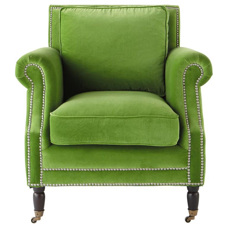 Fauteuil en velours vert Baudelaire