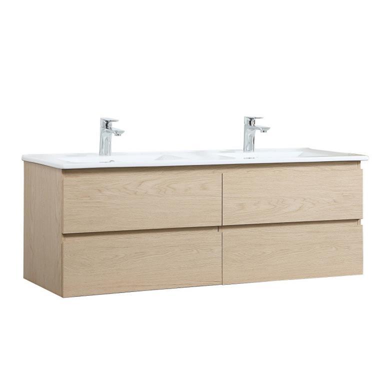 Ce meuble sous-vasque SORRENTO 120 cm à suspendre, est composé d'un plan double vasque en céramique et d'un meuble sous-vasque avec 4 tiroirs.Ce meuble sous vasque possède un design chic ...