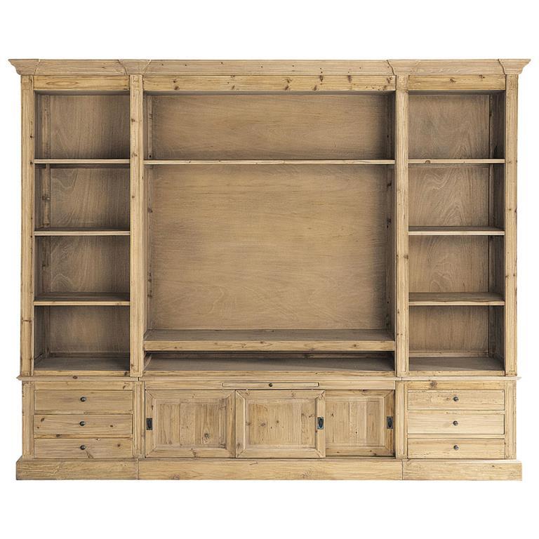 Bibliothèque meuble TV en pin massif recyclé Passy