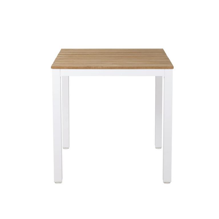 Table de jardin professionnelle en teck et métal blanc L75 Regate Pro